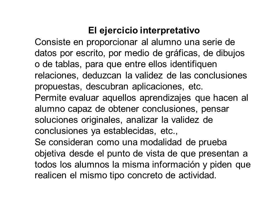 El ejercicio interpretativo Consiste en proporcionar al alumno una serie de datos por escrito, por medio de gráficas, de dibujos o de tablas, para que entre ellos identifiquen relaciones, deduzcan la validez de las conclusiones propuestas, descubran aplicaciones, etc.