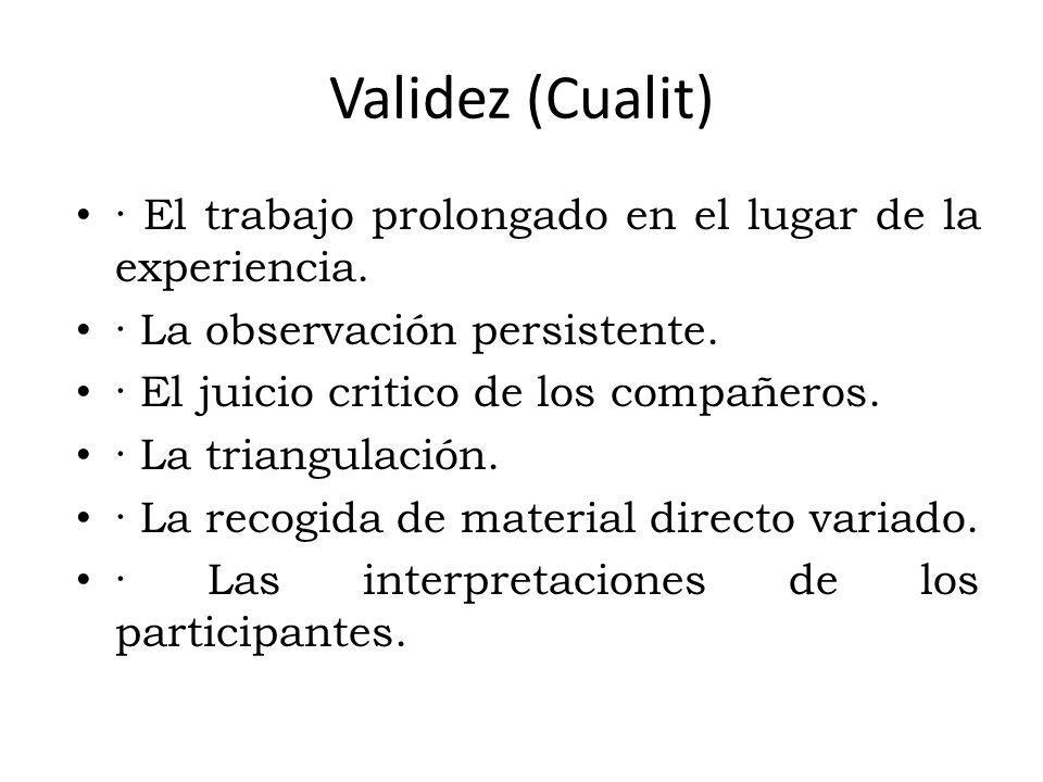 Validez (Cualit) · El trabajo prolongado en el lugar de la experiencia.