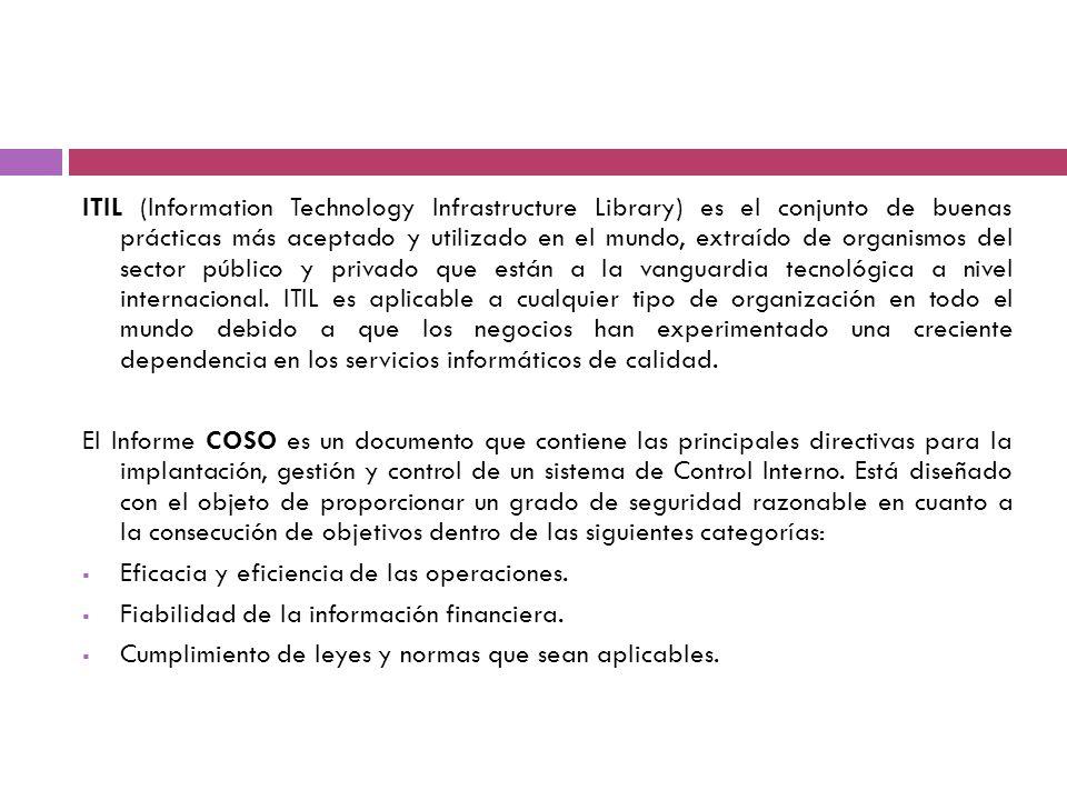 ITIL (Information Technology Infrastructure Library) es el conjunto de buenas prácticas más aceptado y utilizado en el mundo, extraído de organismos d