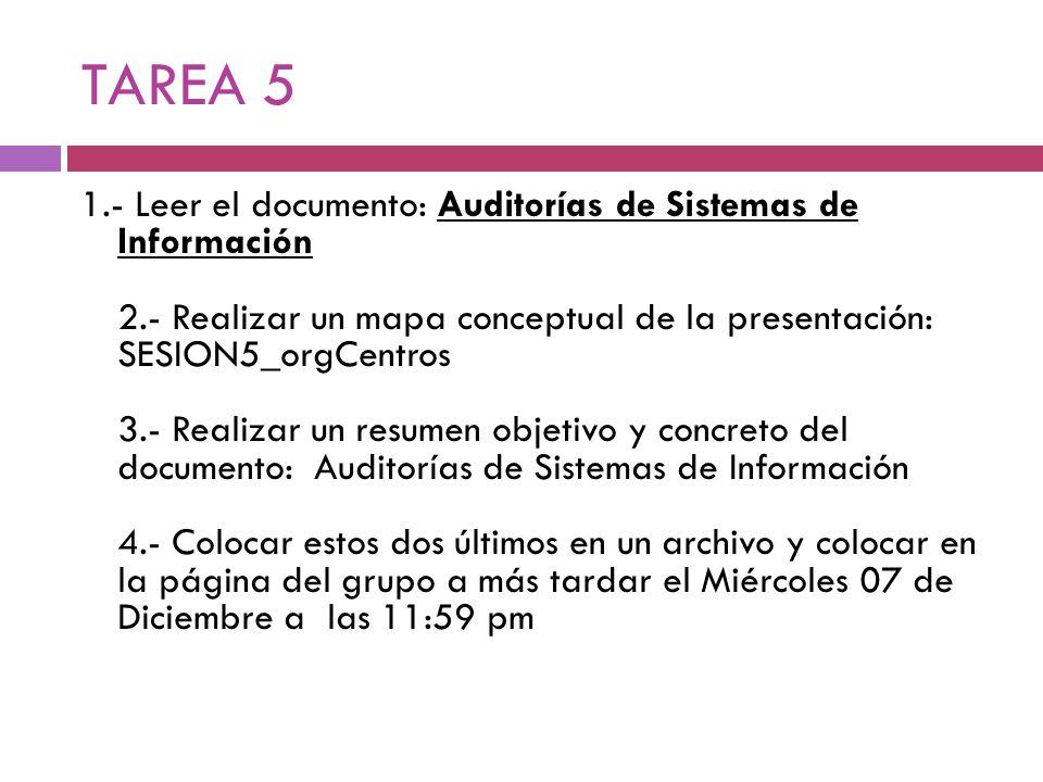 TAREA 5 1.- Leer el documento: Auditorías de Sistemas de Información 2.- Realizar un mapa conceptual de la presentación: SESION5_orgCentros 3.- Realiz
