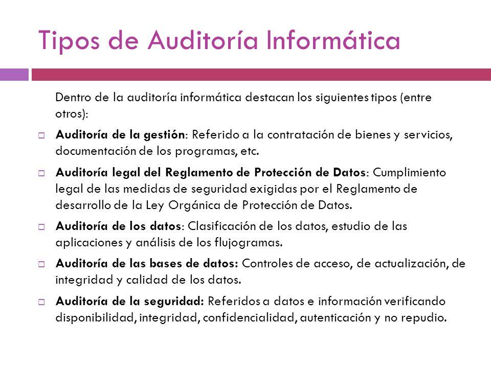 Tipos de Auditoría Informática Dentro de la auditoría informática destacan los siguientes tipos (entre otros): Auditoría de la gestión: Referido a la