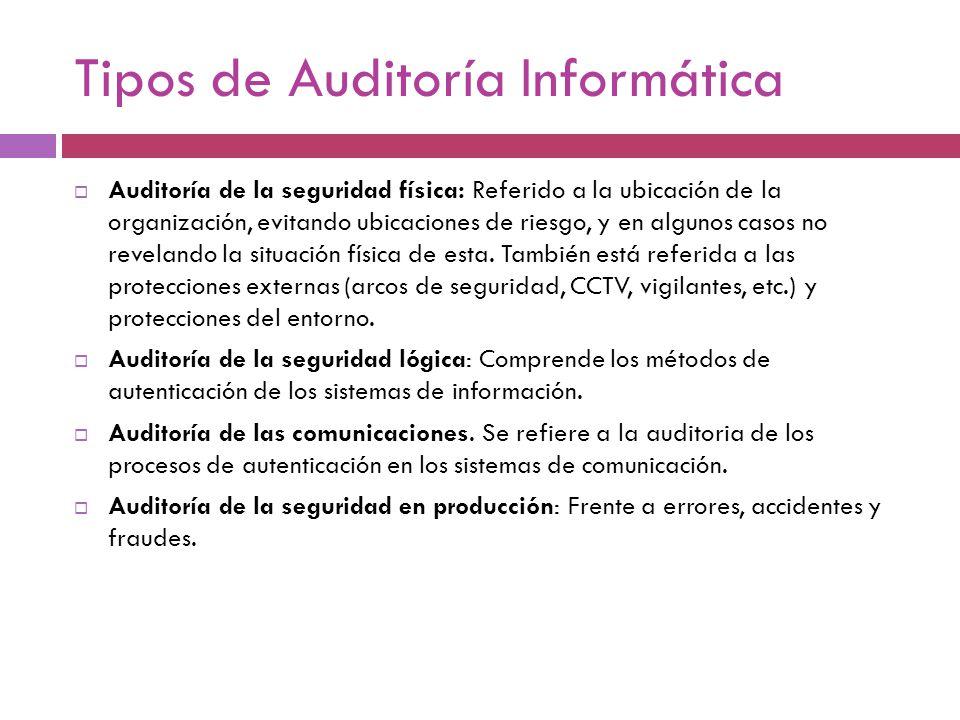 Tipos de Auditoría Informática Auditoría de la seguridad física: Referido a la ubicación de la organización, evitando ubicaciones de riesgo, y en algu