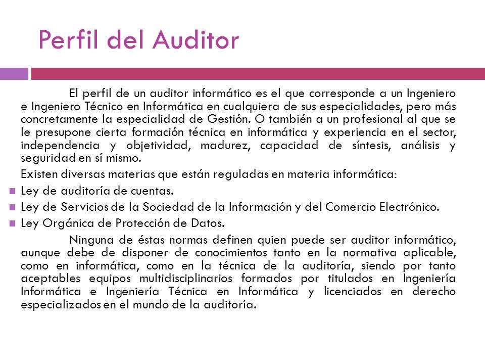 Perfil del Auditor El perfil de un auditor informático es el que corresponde a un Ingeniero e Ingeniero Técnico en Informática en cualquiera de sus es