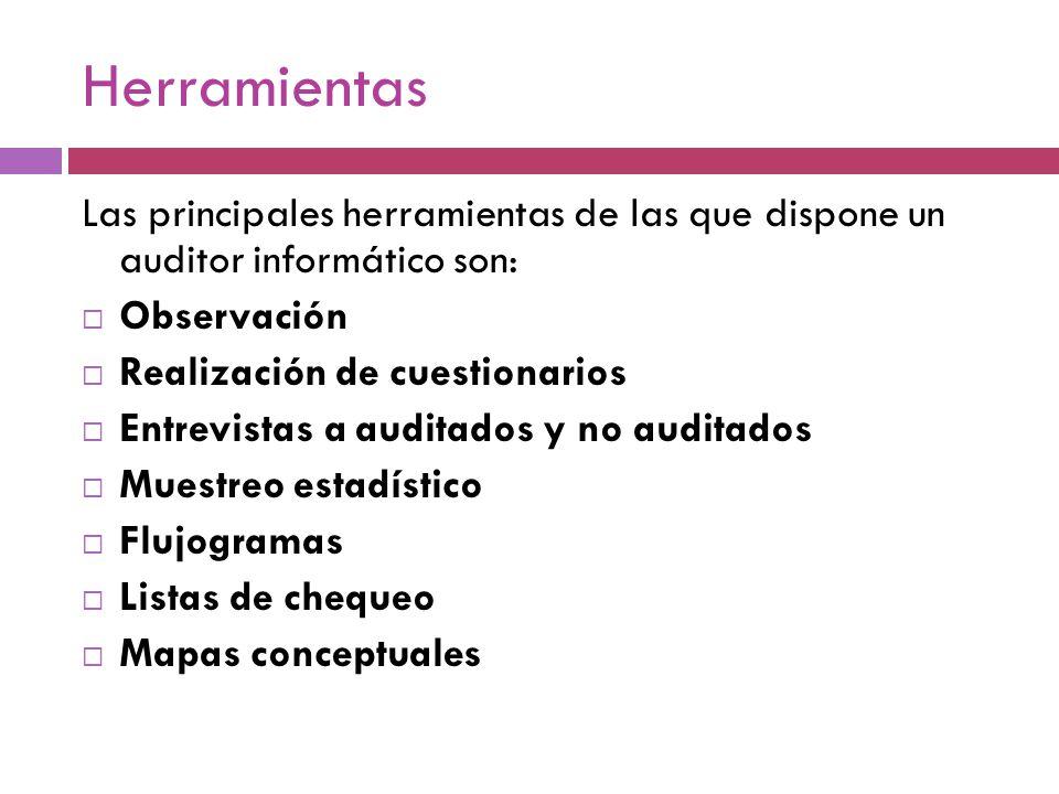 Herramientas Las principales herramientas de las que dispone un auditor informático son: Observación Realización de cuestionarios Entrevistas a audita