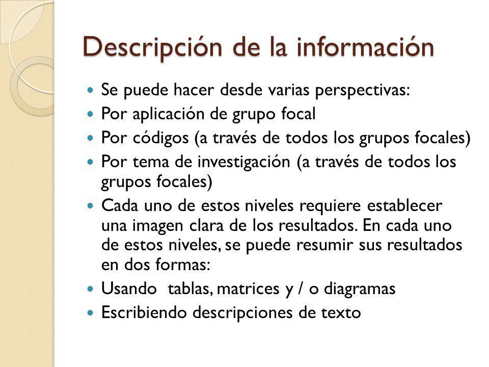 Descripción de la información Se puede hacer desde varias perspectivas: Por aplicación de grupo focal Por códigos (a través de todos los grupos focale