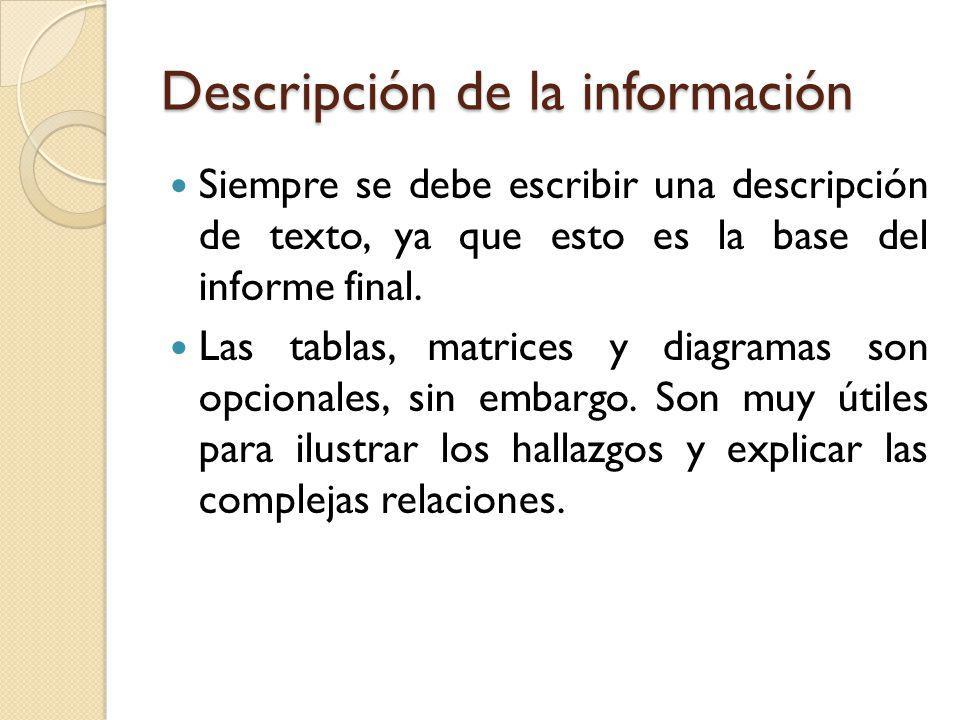 Descripción de la información Siempre se debe escribir una descripción de texto, ya que esto es la base del informe final. Las tablas, matrices y diag