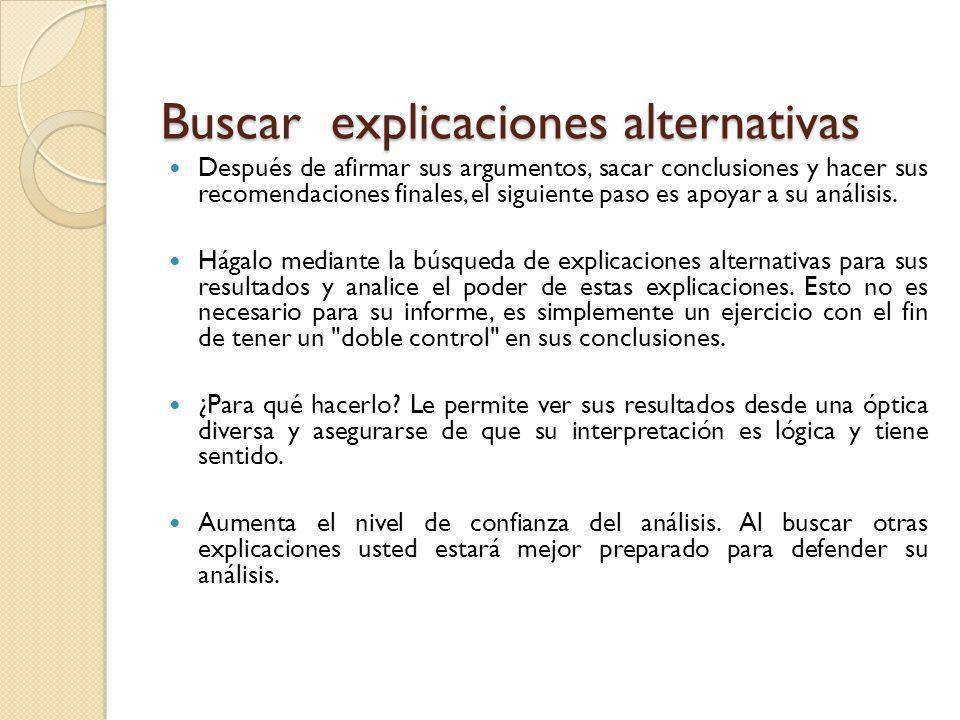 Buscar explicaciones alternativas Después de afirmar sus argumentos, sacar conclusiones y hacer sus recomendaciones finales, el siguiente paso es apoy