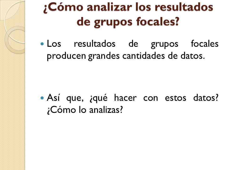 ¿Cómo analizar los resultados de grupos focales? Los resultados de grupos focales producen grandes cantidades de datos. Así que, ¿qué hacer con estos