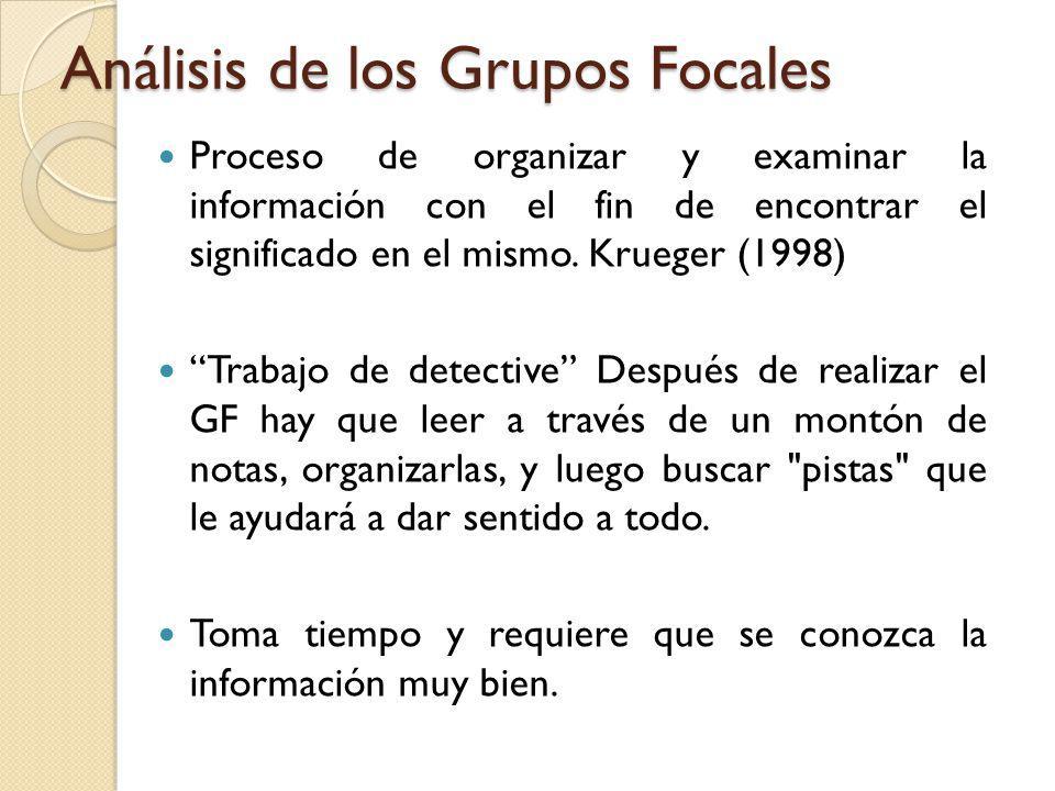 Análisis de los Grupos Focales Proceso de organizar y examinar la información con el fin de encontrar el significado en el mismo. Krueger (1998) Traba