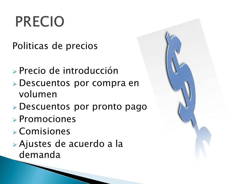 Politicas de precios Precio de introducción Descuentos por compra en volumen Descuentos por pronto pago Promociones Comisiones Ajustes de acuerdo a la demanda