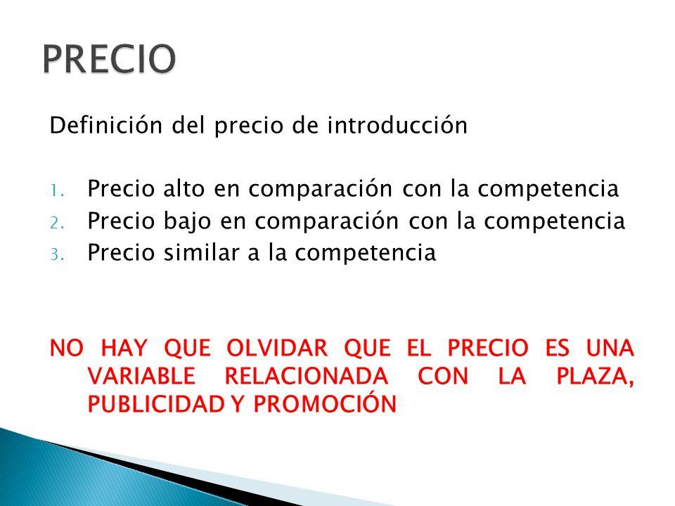 Definición del precio de introducción 1.Precio alto en comparación con la competencia 2.