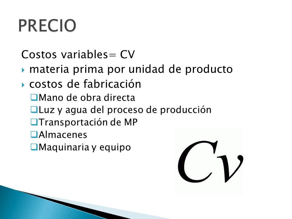 Costos variables= CV materia prima por unidad de producto costos de fabricación Mano de obra directa Luz y agua del proceso de producción Transportación de MP Almacenes Maquinaria y equipo