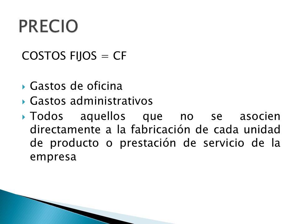 COSTOS FIJOS = CF Gastos de oficina Gastos administrativos Todos aquellos que no se asocien directamente a la fabricación de cada unidad de producto o prestación de servicio de la empresa