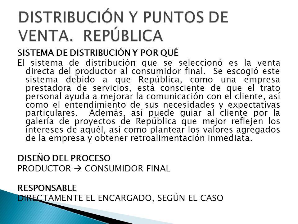 SISTEMA DE DISTRIBUCIÓN Y POR QUÉ El sistema de distribución que se seleccionó es la venta directa del productor al consumidor final.
