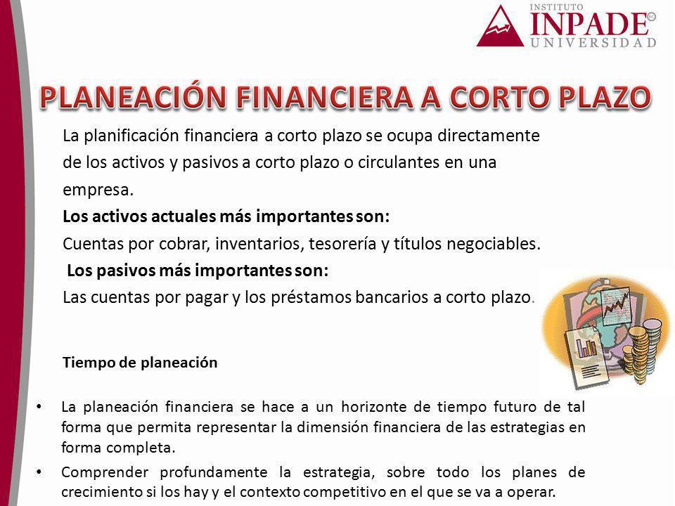 La planificación financiera a corto plazo se ocupa directamente de los activos y pasivos a corto plazo o circulantes en una empresa. Los activos actua