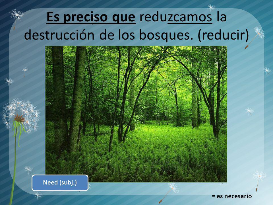 Es preciso que reduzcamos la destrucción de los bosques. (reducir) = es necesario Need (subj.)