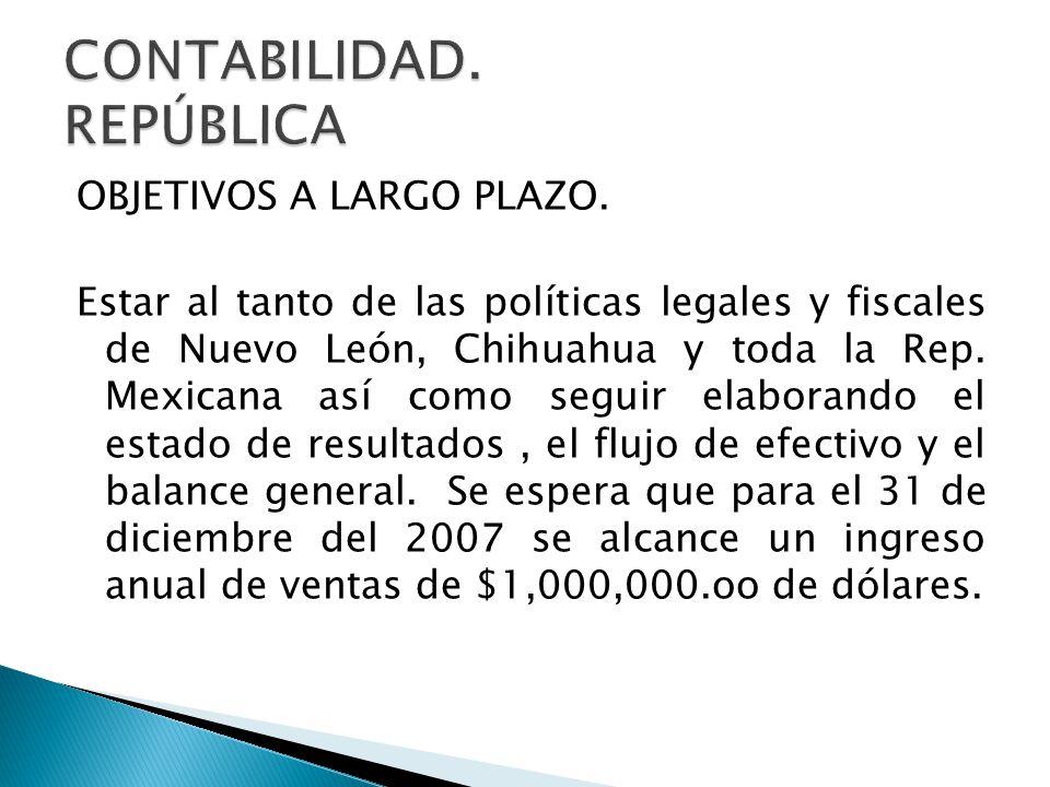 OBJETIVOS A LARGO PLAZO. Estar al tanto de las políticas legales y fiscales de Nuevo León, Chihuahua y toda la Rep. Mexicana así como seguir elaborand