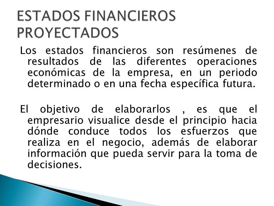 Los estados financieros son resúmenes de resultados de las diferentes operaciones económicas de la empresa, en un periodo determinado o en una fecha e