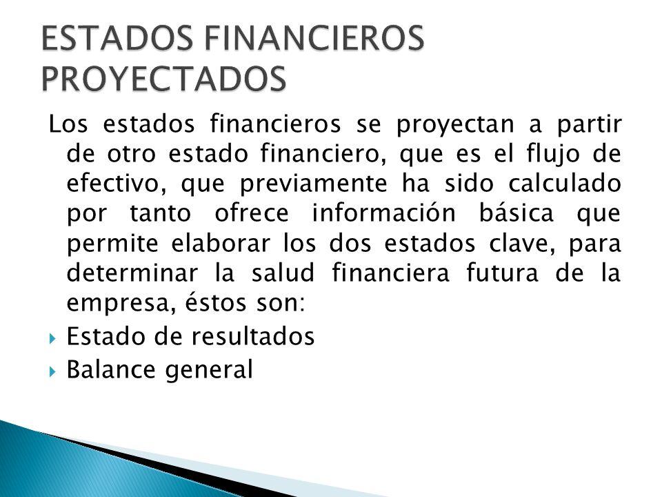 Los estados financieros se proyectan a partir de otro estado financiero, que es el flujo de efectivo, que previamente ha sido calculado por tanto ofre