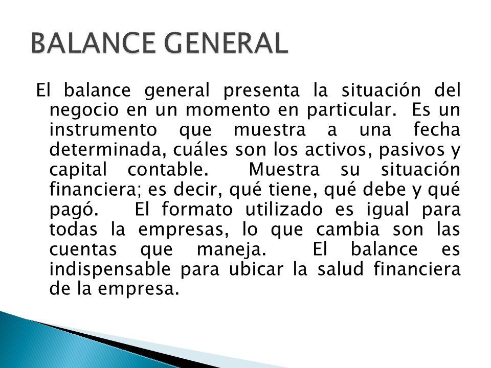 El balance general presenta la situación del negocio en un momento en particular. Es un instrumento que muestra a una fecha determinada, cuáles son lo
