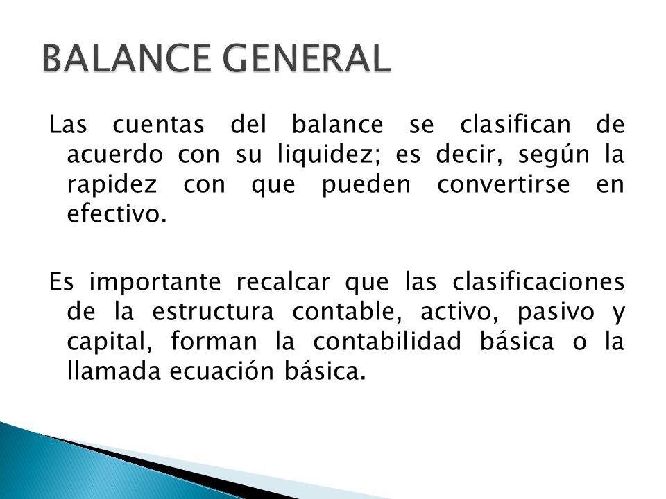 Las cuentas del balance se clasifican de acuerdo con su liquidez; es decir, según la rapidez con que pueden convertirse en efectivo. Es importante rec