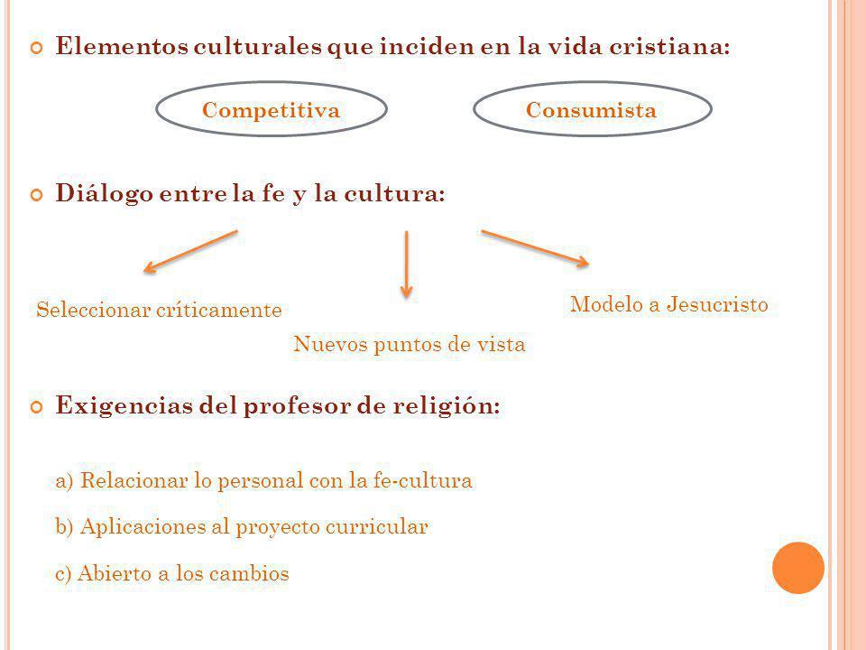 Elementos culturales que inciden en la vida cristiana: Diálogo entre la fe y la cultura: Exigencias del profesor de religión: a) Relacionar lo persona