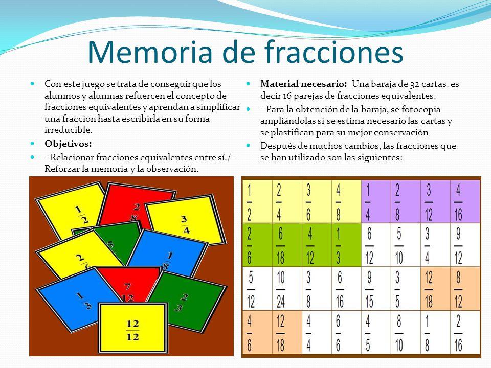 Memoria de fracciones Con este juego se trata de conseguir que los alumnos y alumnas refuercen el concepto de fracciones equivalentes y aprendan a sim