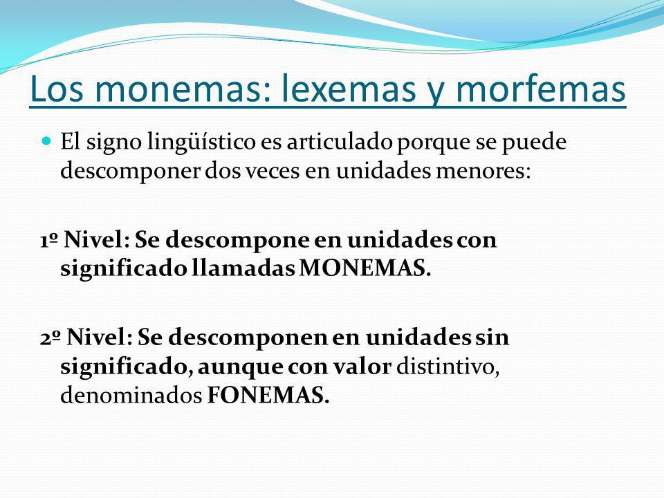 Los monemas: lexemas y morfemas El signo lingüístico es articulado porque se puede descomponer dos veces en unidades menores: 1º Nivel: Se descompone en unidades con significado llamadas MONEMAS.