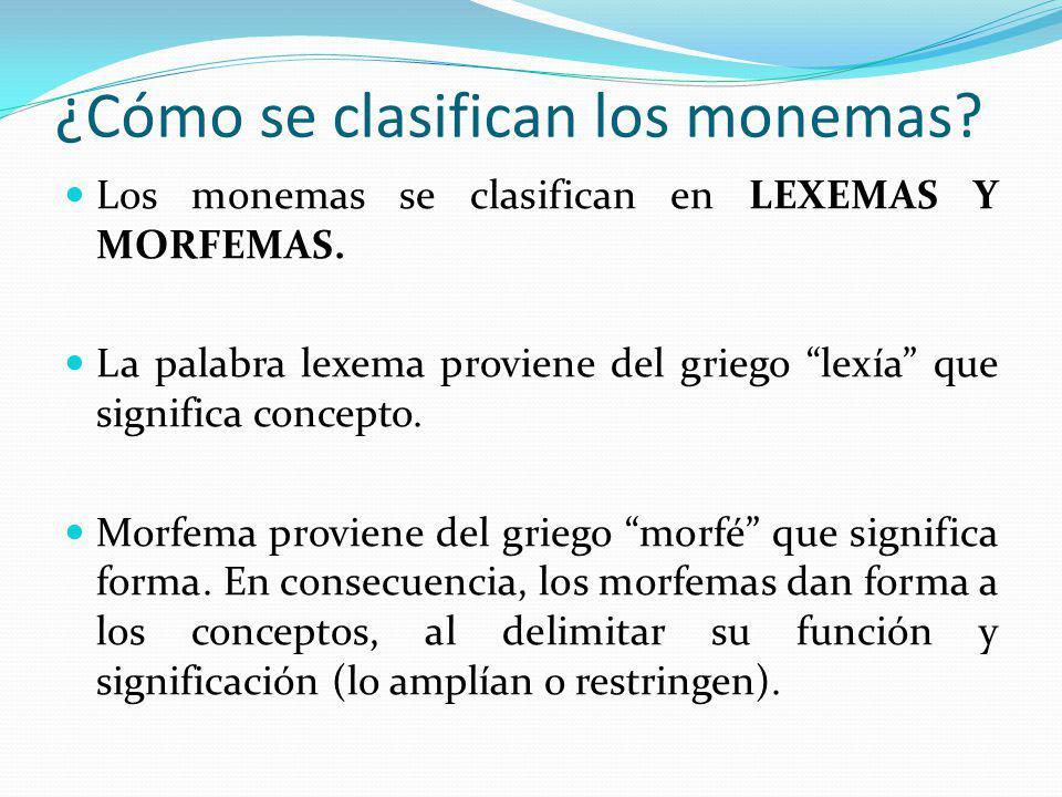 ¿Cómo se clasifican los monemas? Los monemas se clasifican en LEXEMAS Y MORFEMAS. La palabra lexema proviene del griego lexía que significa concepto.
