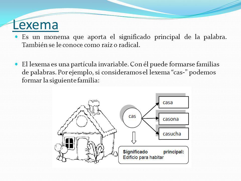 Lexema Es un monema que aporta el significado principal de la palabra. También se le conoce como raíz o radical. El lexema es una partícula invariable