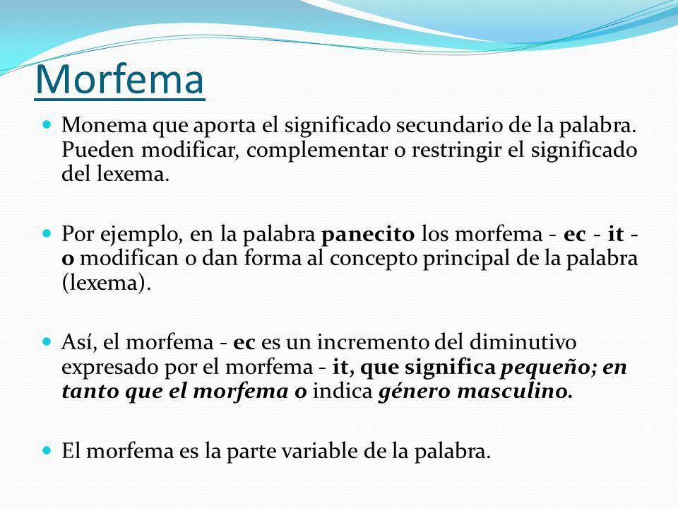 Morfema Monema que aporta el significado secundario de la palabra. Pueden modificar, complementar o restringir el significado del lexema. Por ejemplo,