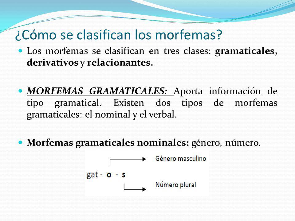 ¿Cómo se clasifican los morfemas? Los morfemas se clasifican en tres clases: gramaticales, derivativos y relacionantes. MORFEMAS GRAMATICALES: Aporta