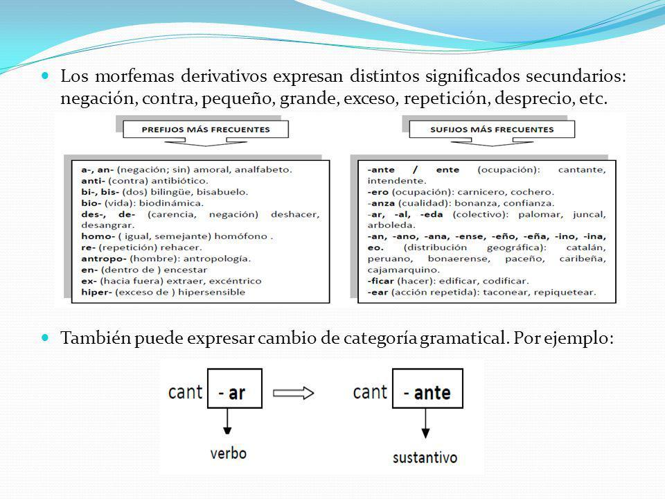 Los morfemas derivativos expresan distintos significados secundarios: negación, contra, pequeño, grande, exceso, repetición, desprecio, etc. También p