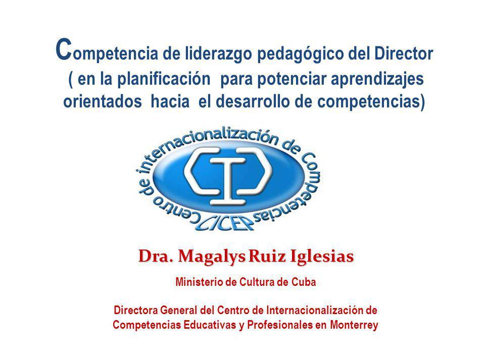 C ompetencia de liderazgo pedagógico del Director ( en la planificación para potenciar aprendizajes orientados hacia el desarrollo de competencias) Dr