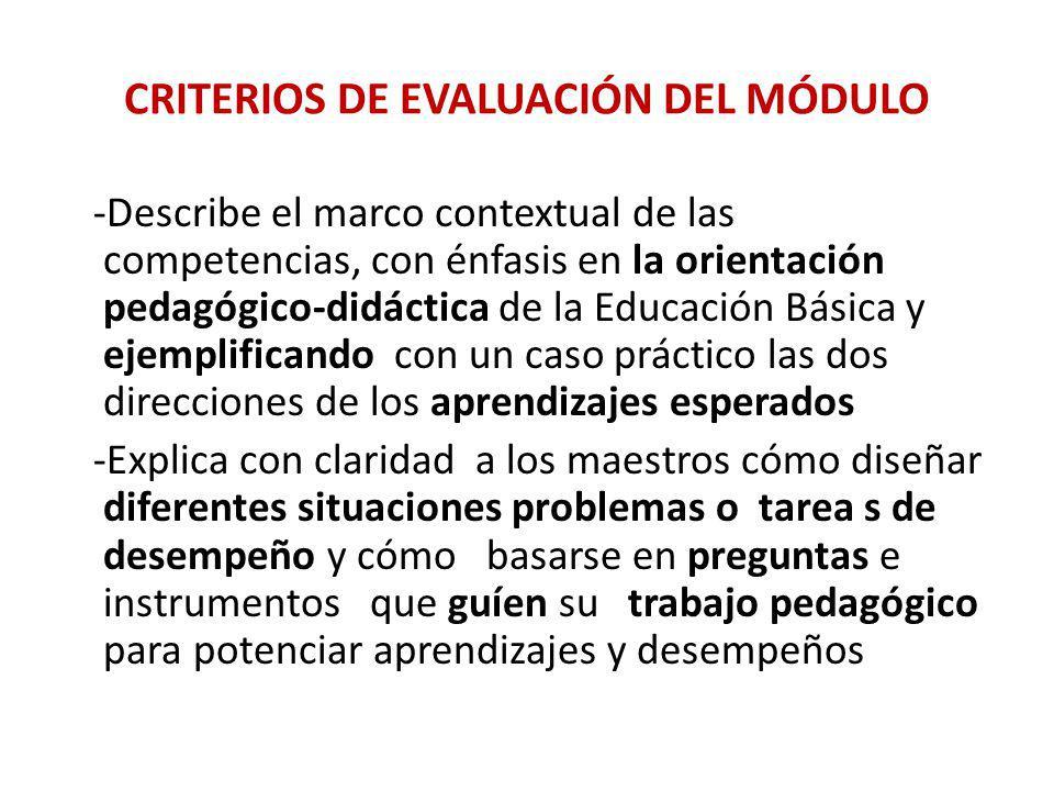CRITERIOS DE EVALUACIÓN DEL MÓDULO -Describe el marco contextual de las competencias, con énfasis en la orientación pedagógico-didáctica de la Educaci