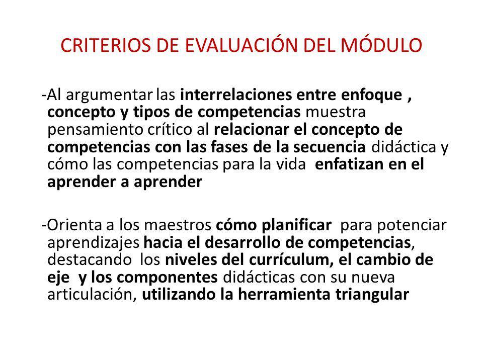 CRITERIOS DE EVALUACIÓN DEL MÓDULO -Al argumentar las interrelaciones entre enfoque, concepto y tipos de competencias muestra pensamiento crítico al r