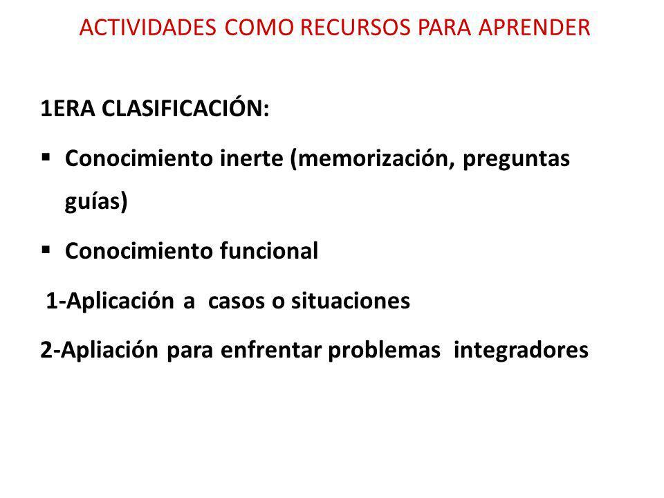 ACTIVIDADES COMO RECURSOS PARA APRENDER 1ERA CLASIFICACIÓN: Conocimiento inerte (memorización, preguntas guías) Conocimiento funcional 1-Aplicación a