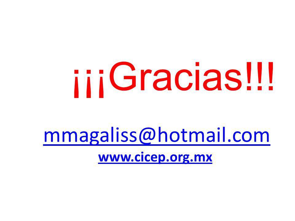 mmagaliss@hotmail.com www.cicep.org.mx ¡¡¡Gracias!!!