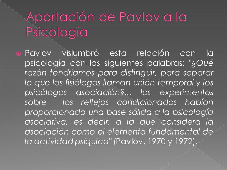 Pavlov vislumbró esta relación con la psicología con las siguientes palabras: