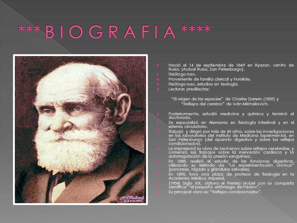 Nació el 14 de septiembre de 1849 en Ryazan, centro de Rusia. (Actual Rusia, San Petersburgo). Fisiólogo ruso. Proveniente de familia clerical y humil
