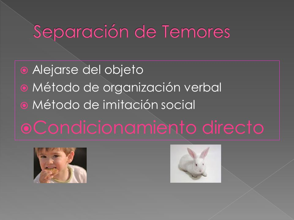 Alejarse del objeto Método de organización verbal Método de imitación social Condicionamiento directo