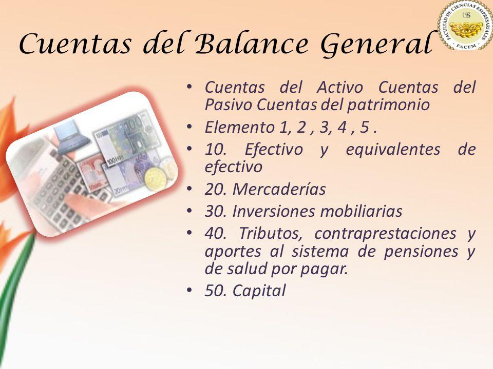 Cuentas del Balance General Cuentas del Activo Cuentas del Pasivo Cuentas del patrimonio Elemento 1, 2, 3, 4, 5. 10. Efectivo y equivalentes de efecti