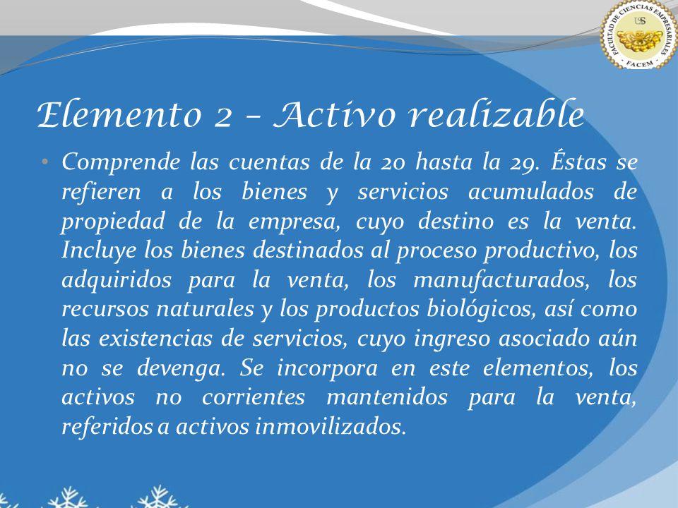 Elemento 2 – Activo realizable Comprende las cuentas de la 20 hasta la 29. Éstas se refieren a los bienes y servicios acumulados de propiedad de la em