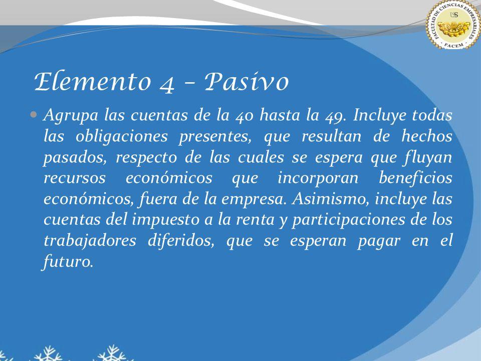 Elemento 4 – Pasivo Agrupa las cuentas de la 40 hasta la 49. Incluye todas las obligaciones presentes, que resultan de hechos pasados, respecto de las