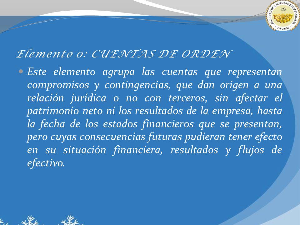 Elemento 0: CUENTAS DE ORDEN Este elemento agrupa las cuentas que representan compromisos y contingencias, que dan origen a una relación jurídica o no