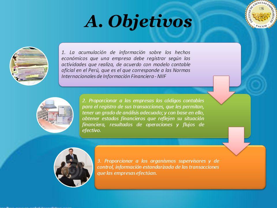 A. Objetivos 1. La acumulación de información sobre los hechos económicos que una empresa debe registrar según las actividades que realiza, de acuerdo