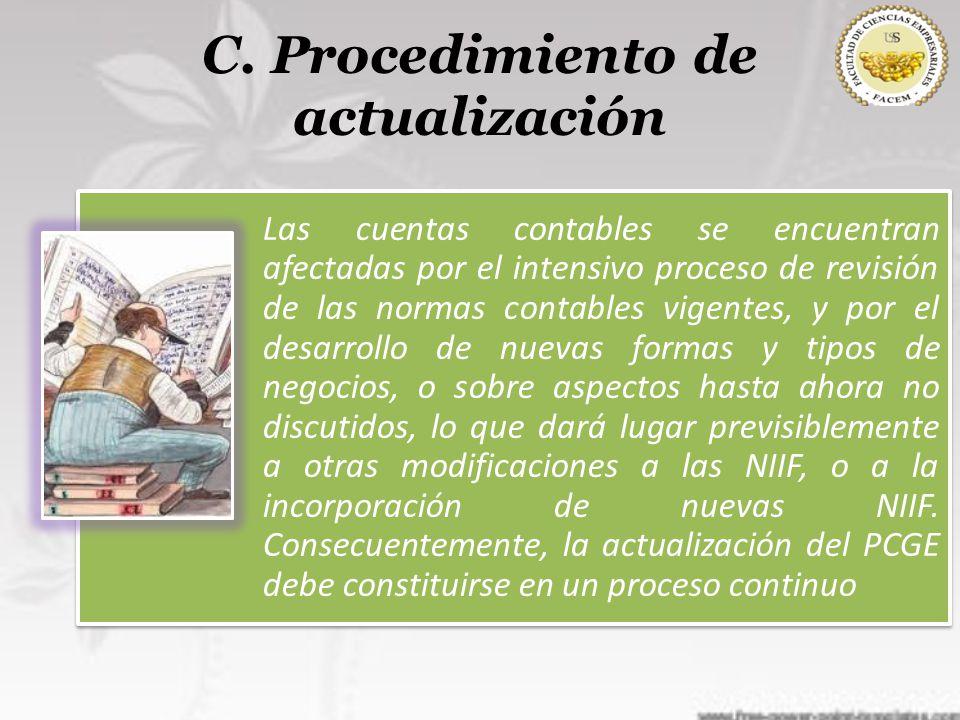 C. Procedimiento de actualización Las cuentas contables se encuentran afectadas por el intensivo proceso de revisión de las normas contables vigentes,