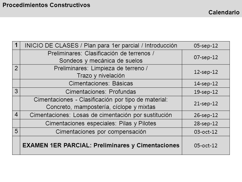 Procedimientos Constructivos Calendario 1 INICIO DE CLASES / Plan para 1er parcial / Introducción 05-sep-12 Preliminares: Clasificación de terrenos /