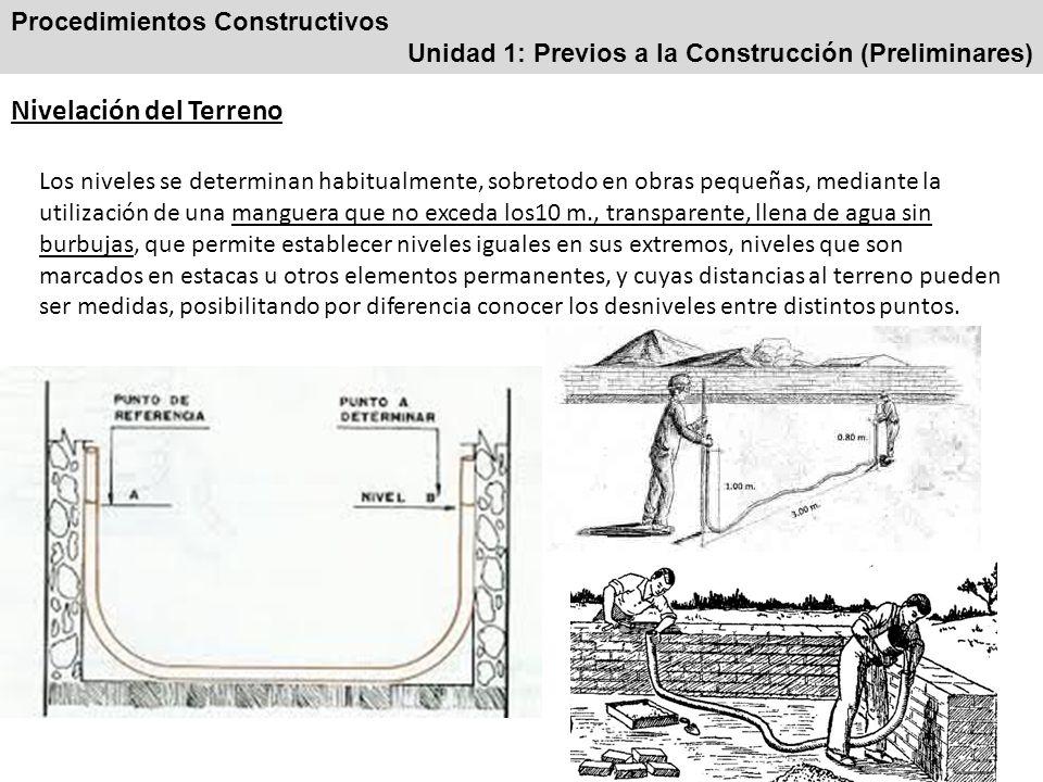 Procedimientos Constructivos Unidad 1: Previos a la Construcción (Preliminares) Nivelación del Terreno Los niveles se determinan habitualmente, sobret