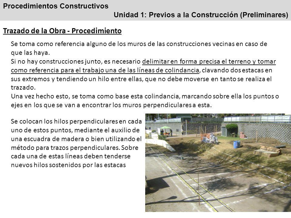 Procedimientos Constructivos Unidad 1: Previos a la Construcción (Preliminares) Trazados perpendiculares Es el trazo que forma un ángulo de 90 grados con una línea recta.